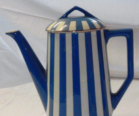 cafetière Fox Trott, art déco, bleu et blanc, Sarreguemines
